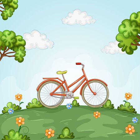 Bicycle standing in beautiful landscape