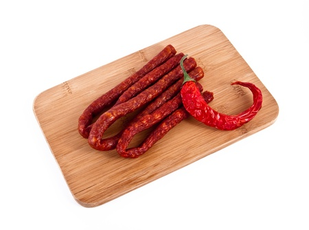 sausage with pepper. photo