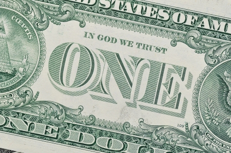 one dollar bill: Detail of one dollar bill