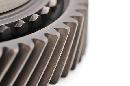 sprocket: Detail of a sprocket isolated on white background  Stock Photo