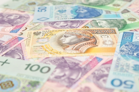 Polish paper money background with selective focus  photo