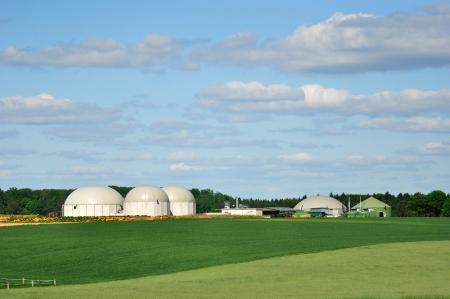biomasa: Bio planta de combustible con el bosque en segundo plano