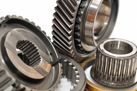 serrate: Car gearbox sprocket isolated on white background  Stock Photo