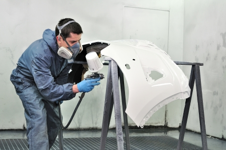 White car bumper painting by a professional  Standard-Bild