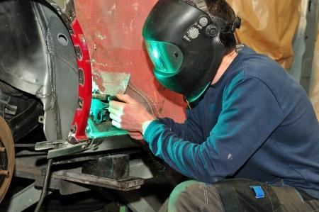 body paint: Car trabajador del cuerpo Foto de archivo