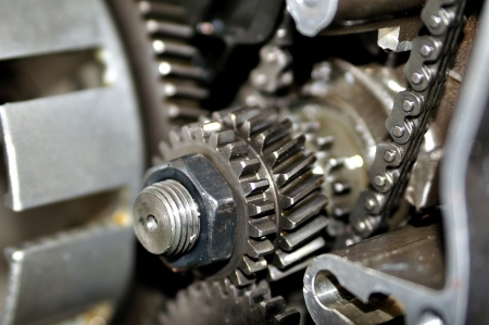 Drive wheels inside a motorcycle engine  photo