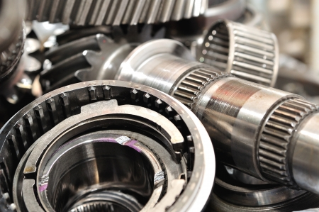 serrate: Stack of  gearbox parts  Stock Photo