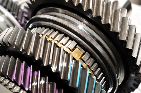 automobile industry: Detail of gearbox gears  Stock Photo