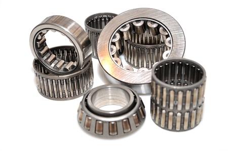 group of roller bearings isolated on white background  Standard-Bild