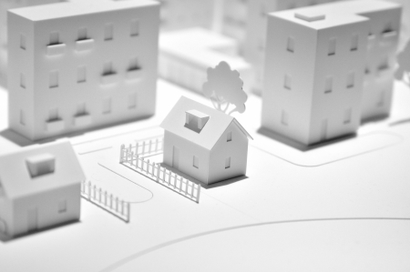 model houses: White town dummy made from paper