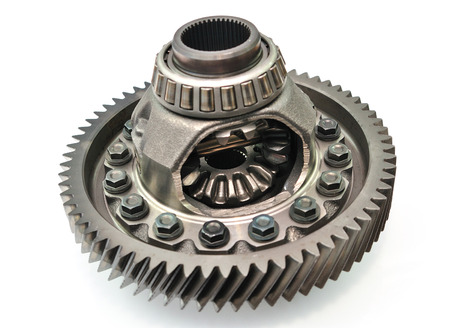 differential: Car gear box differential on white background  Stock Photo