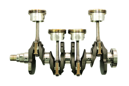 dismounted: Crankshaft with pistons on white background