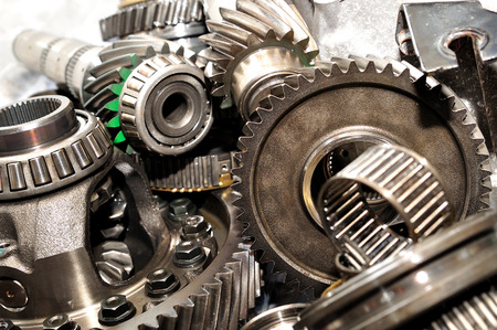 serrate: Axle, gears and bearings  Stock Photo