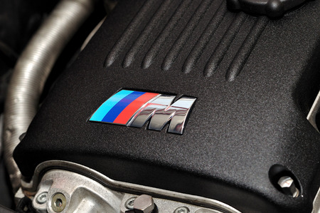 horsepower: M-Power sign on to BMW engine cover.