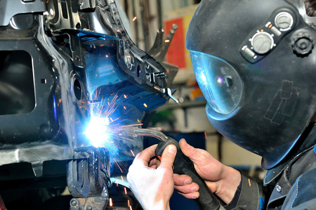 welding mask: Proffesional car body repair, welding panels.