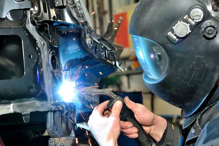Proffesional car body repair, welding panels.