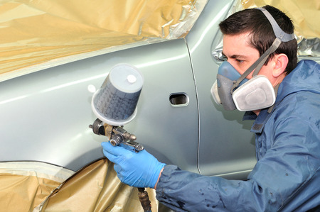 Painting silver car  by proffesional. photo