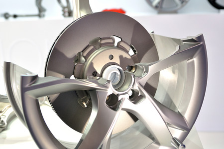 aluminum wheels: Cross section of a rim with disc brake. Stock Photo