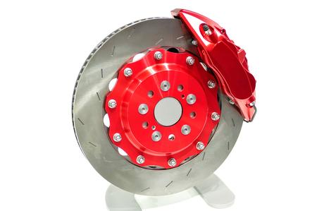 brake caliper: Disc brake with red caliper isolated on white.