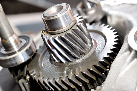 gearing: Gears and gearing from a bearbox. Stock Photo