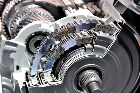 transmission: Cross section of an automatic transmission.