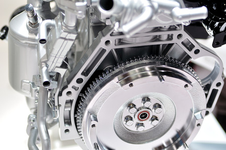 flywheel: Car engine flywheel.