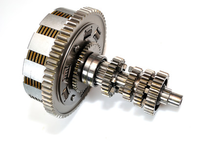 clutch: Motorcycle clutch gears isolated on white background.