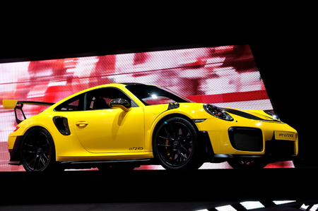 FRANKFURT - SEP 17: Porsche 911 GT2RS on Internationale Automobil Ausstellung (IAA) on September 17, 2017 in Frankfurt, Germany.