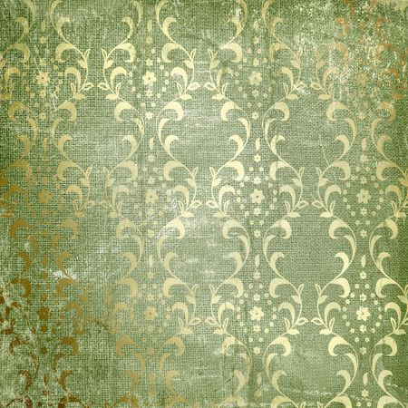 Grunge green background with ancient ornament. Vintage textile photo