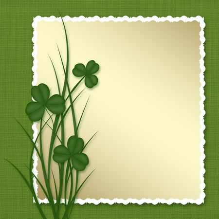 Design for St. Patricks Day. Frame with leaf clovers. photo