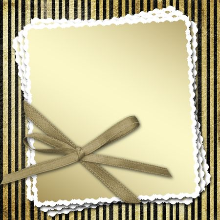 Celebratory framework with a bow and a ribbon on striped grunge a background Stock Photo - 2981364