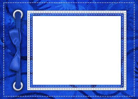 white satin: Blue framework for photos