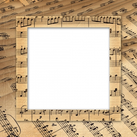 music sheet: Framework for a photo or invitation. Grunge musical  background. Stock Photo