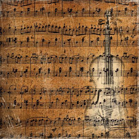 chiave di violino: Grunge background musicale con lo schizzo di un vecchio violino Archivio Fotografico
