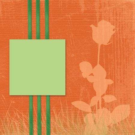 Card for advertising or photo, on the abstract orange background photo