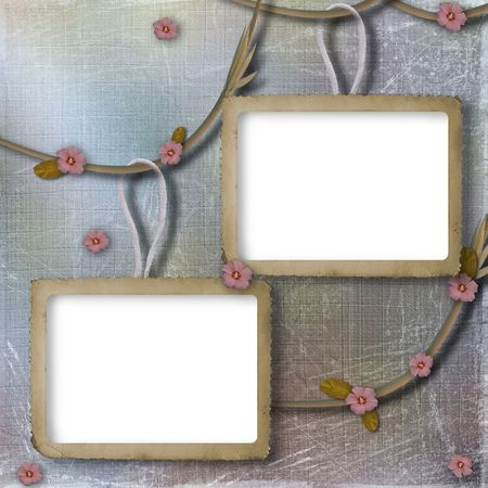 Two framework for photos on the abstract background with flowers photo