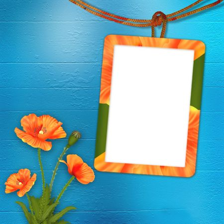 Frame with poppies for photo on the abstract background photo