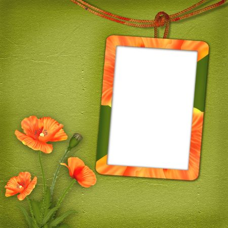 opium: Frame with poppies for photo on the abstract background