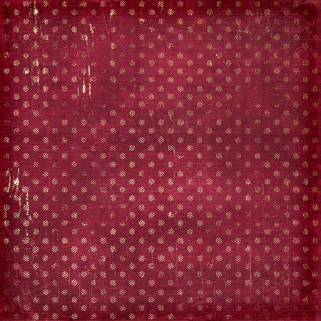 vinous: Grunge vinous background with gold circles. Vintage textile