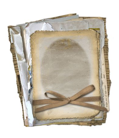 old newspapers: Grunge papers design in scrapbooking style on the isolated white background