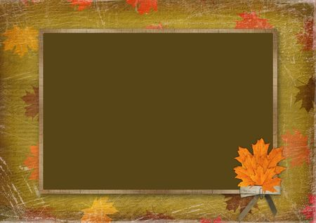 leafage: Frame for congratulation with bouquet of maples