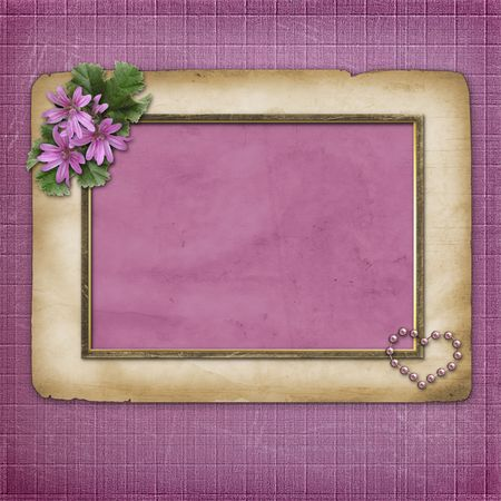 Grunge papers design in scrapbooking style with flowers photo