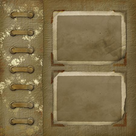 Old photoalbum with two grunge frame for photos Stock Photo - 3596717