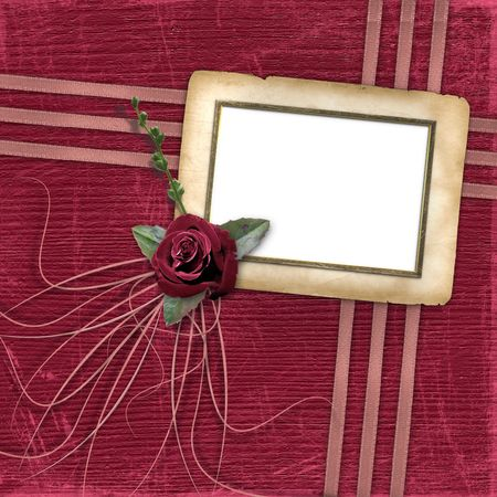Grunge papers design in scrapbooking style with rose photo