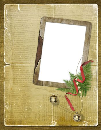 The old grunge postcard. Congratulation to Christmas or  New year Stock Photo - 3666986