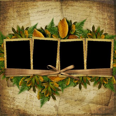 autumn leaf frame: Four frame with ribbons and bow to old photos Stock Photo