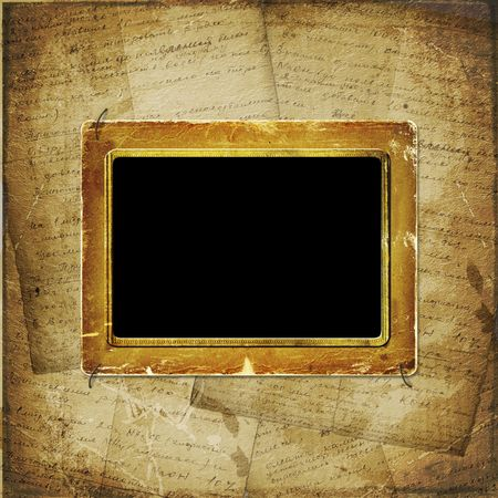 Old  scarred photoframe on the  abstract background with historical manuscript photo