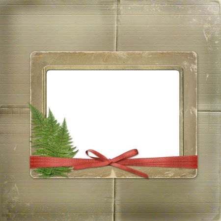 Framework for a photo or invitations. A red bow. A beautiful background. Stock Photo