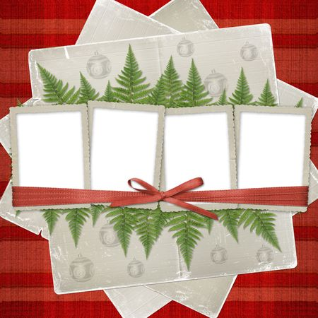 Four frame with ribbons and bow to old photos Stock Photo