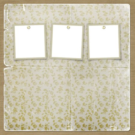 Three frames for photos on the floral  background Stock Photo - 3731094